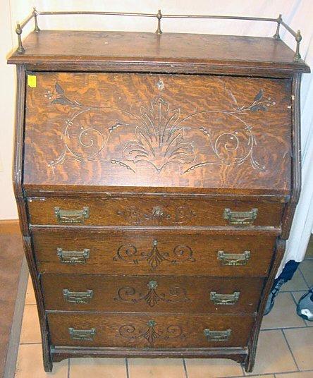 Antique Oak Secretary Desk w/Brass Gallery