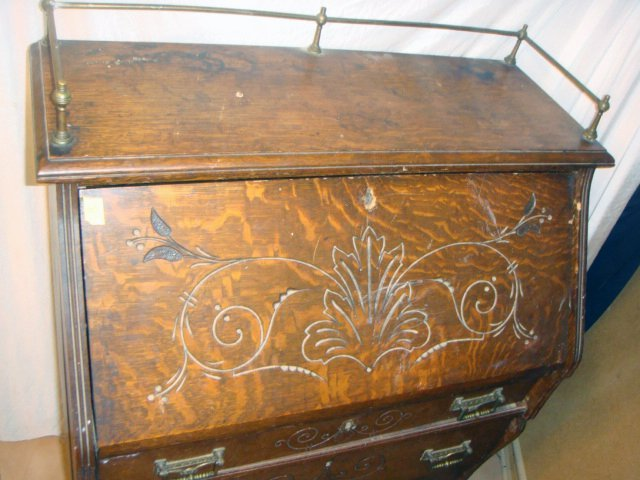 Antique Oak Secretary Desk w/Brass Gallery - 2