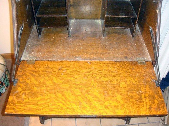 Antique Oak Secretary Desk w/Brass Gallery - 3