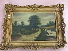 Antique Oil Painting with Gold Gilt Frame