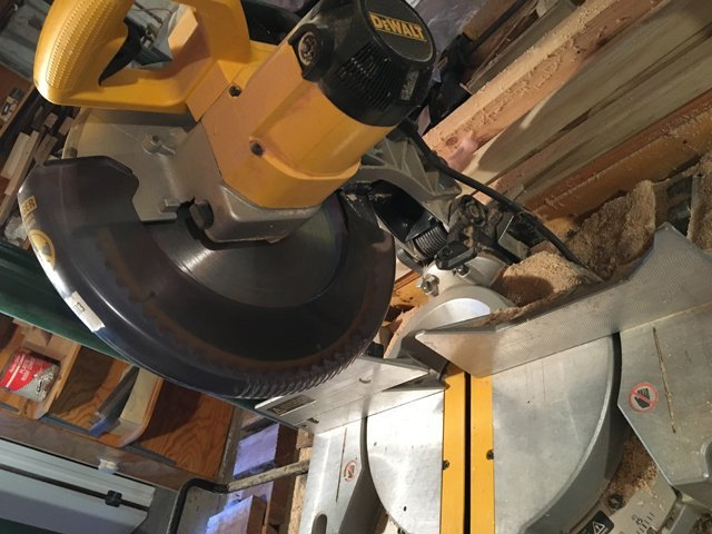 Chop Saw and Metal Cabinets with Contents