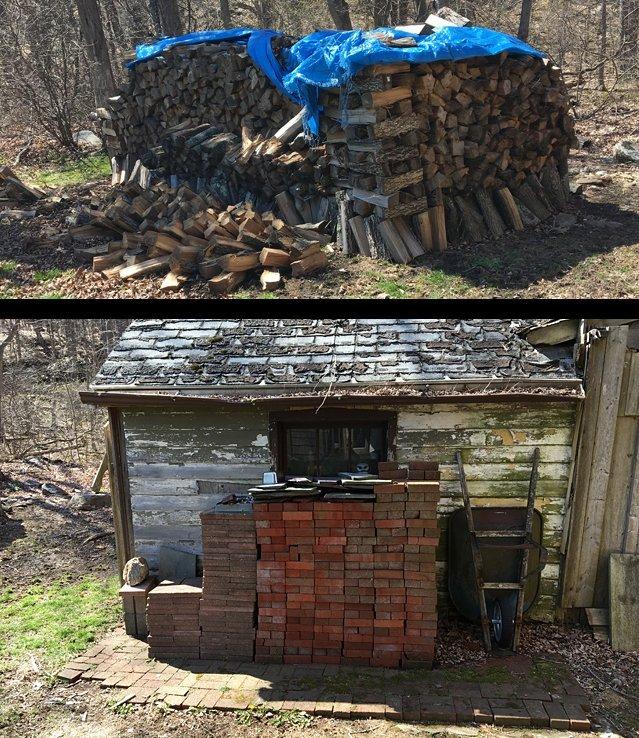 Wood & Brick Pile