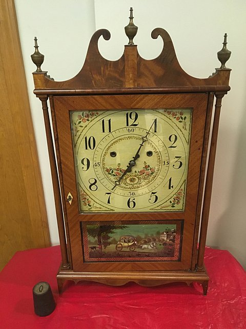 "Silas Hoadley ""Upside Down"" Pillar and Scroll Clock"