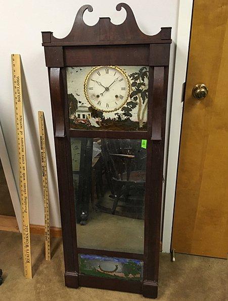 "1818 Joseph Ives 54"" Column w/Mirror Clock"