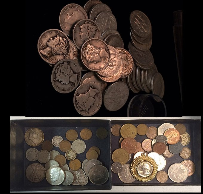 34 Silver Dimes and Mixed Coins