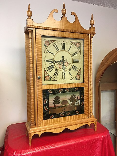 Tiger Maple Pillar and Scroll Clock