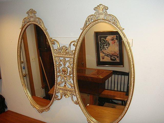 Estate Gold Gilt Very Ornate 2 Oval Mirror
