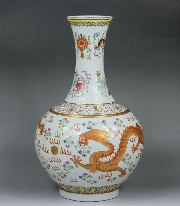 4: Chinese Famille Rose Flask Vase