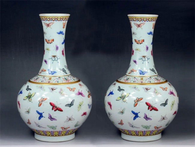 13: Chinese Pairs Famille Rose Vases With butterfly