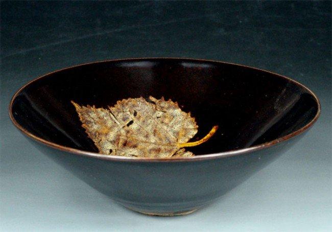 21:Chinese Jizou Kiln Black Glaze Bowl With leafage