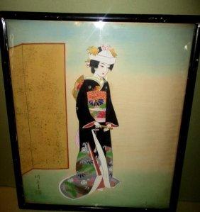 Japanese Painting of Geisha