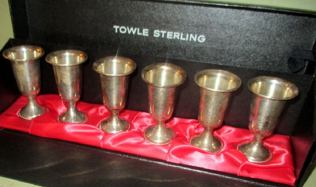 Set of Six Sterling Shot Cups