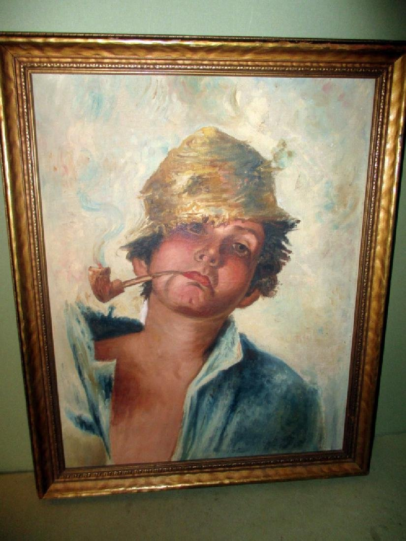 Unsigned Oil Painting of Boy Smoking