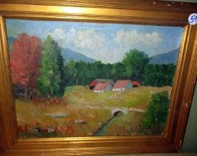 Oil Painting of Vermont Farm by CH Allen