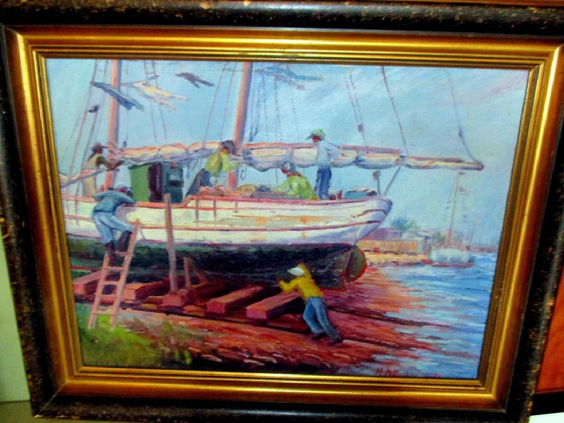 Oil Painting of Dry Docked Boat