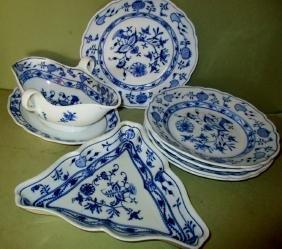 Seven Piece Lot of Meissen Onion Ware Porcelain