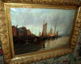 Oil Painting of Dutch Harbor Scene