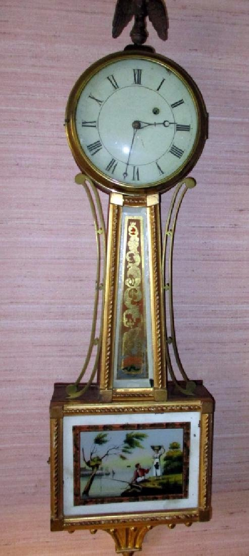 Early American 19th Century Banjo Form Wall Clock
