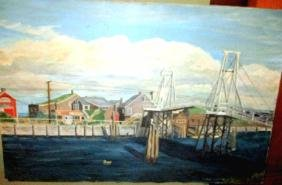 Oil Painting on Canvas of Harbor Scene