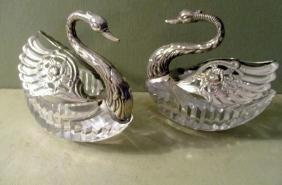 Pair of Cut Glass Swan Master Salts