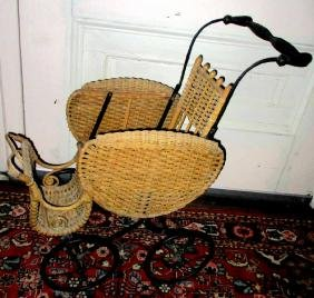 Victorian Wicker Doll Carriage