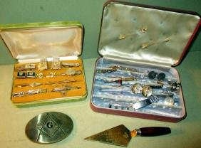 Two Jewelry Boxes of Men's Cufflinks & Tie Pins