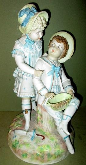 Bisque Figure of Bot and Girl (As Is)
