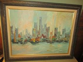 Mid-Century City-Scape with Boats