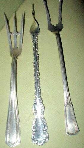 Three Sterling Silver Pickle Forks