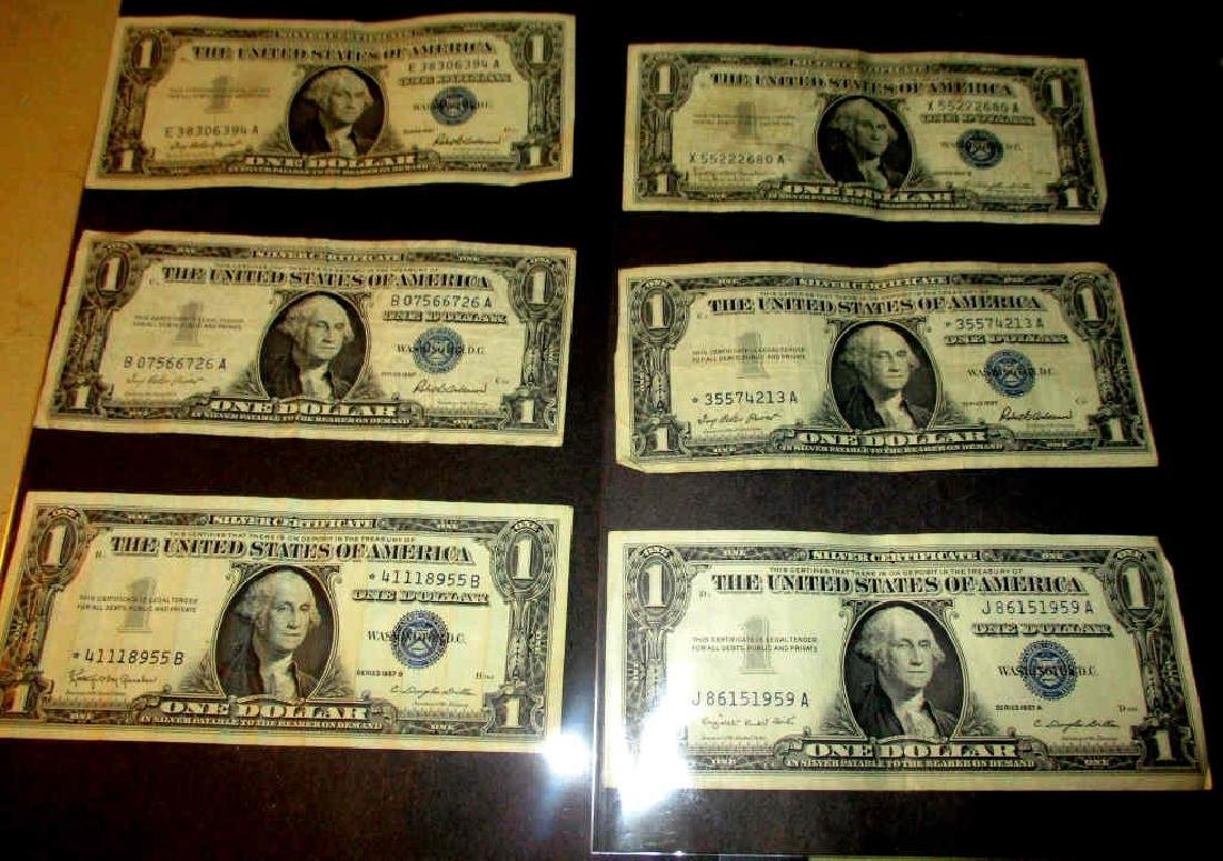Lot of Six One Dollar Silver Certificates