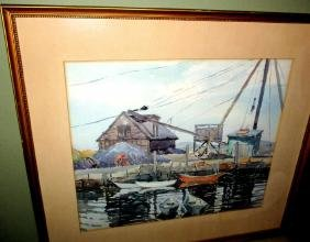 Watercolor of Harbor Scene