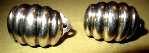 Pair of Sterling Clip Earrings by Tiffany