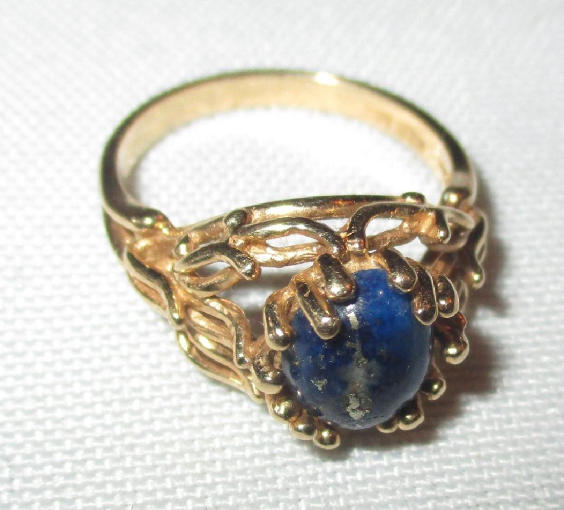 14K Gold Ring Set with Lapis Stone