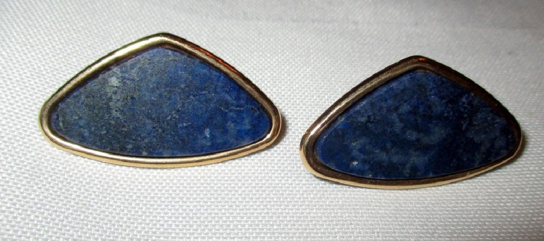 Pair of 14K Gold and Lapis Earrings