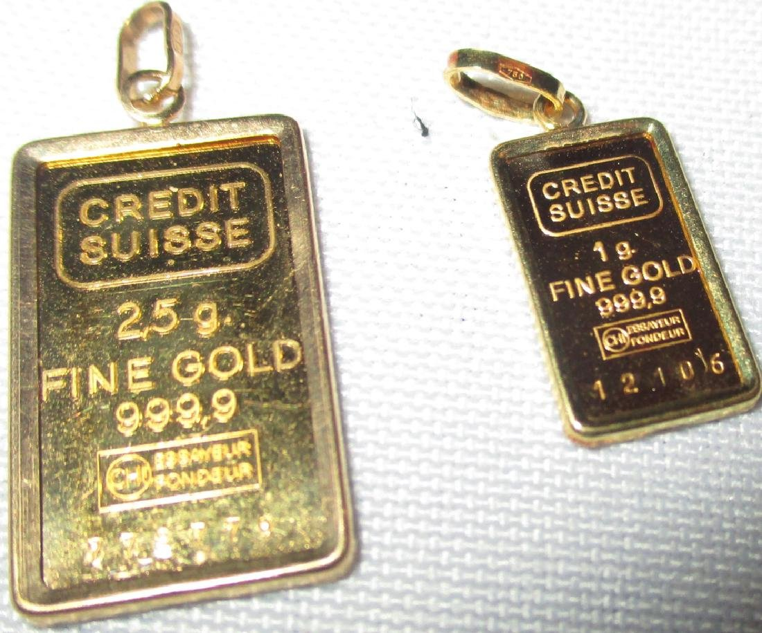 Two Credit Suisse Gold Pendants / Ingots