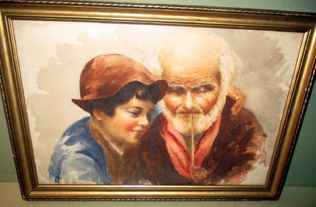 Italian Watercolor of Old Man & Boy