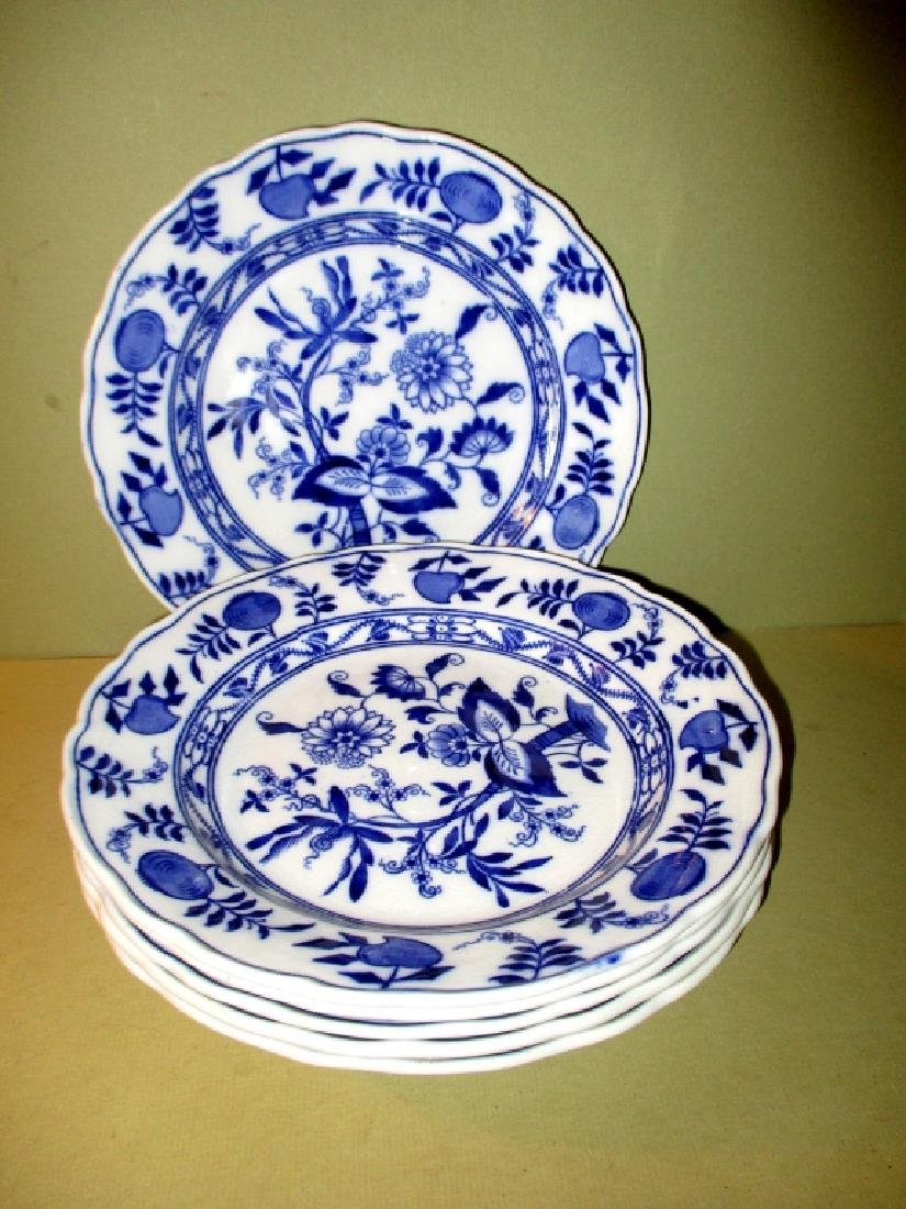 Lot of 6 Blue & White Onionware Plates