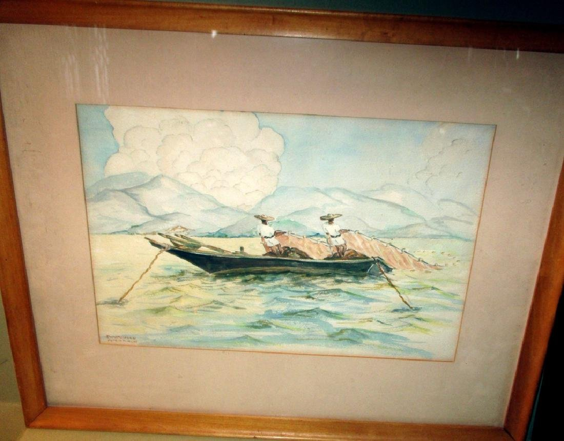 Watercolor of Men Fishing