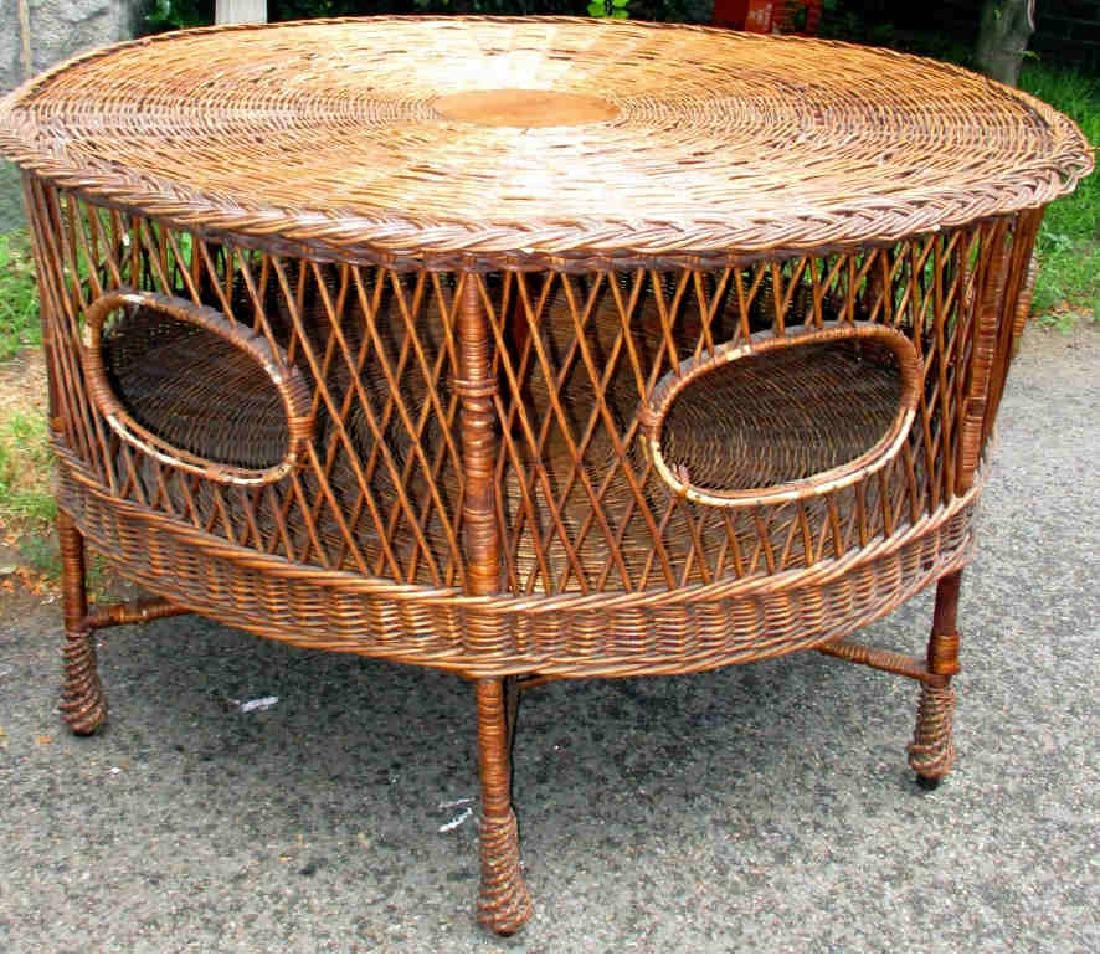 Large Antique Wicker Center Table