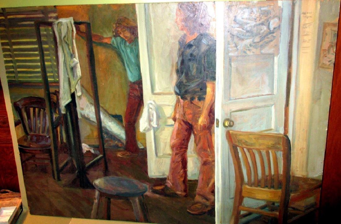 Mid Century Oil on Board Painting