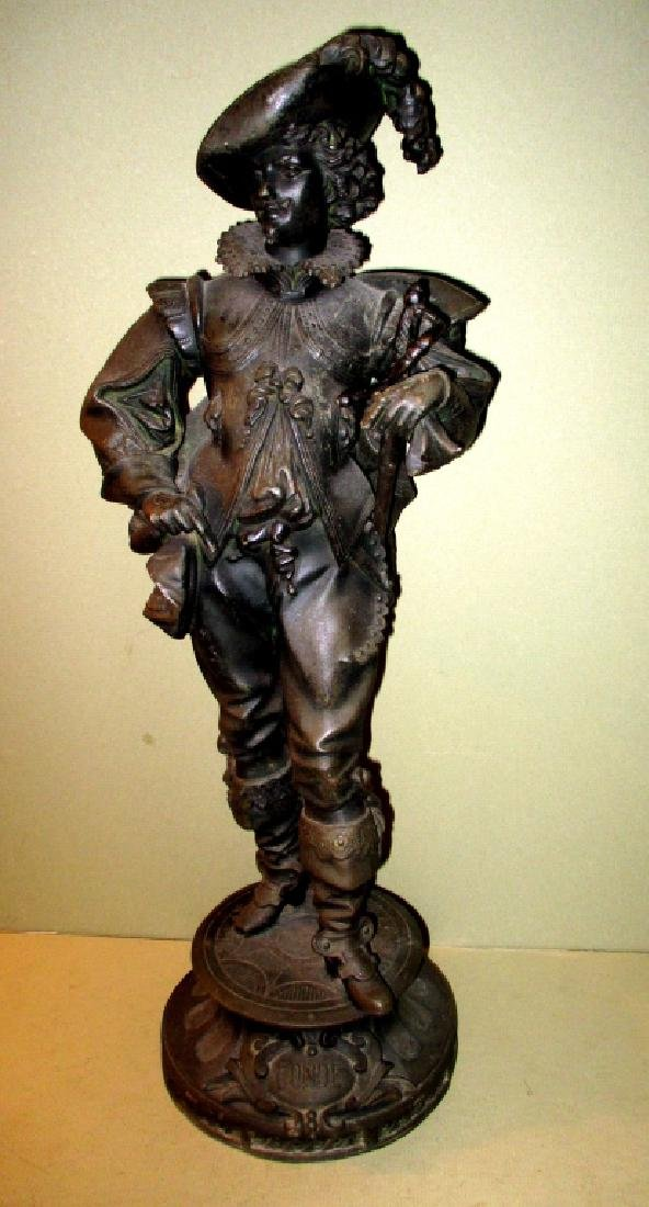19th C. Zinc Sculpture of Cavalier