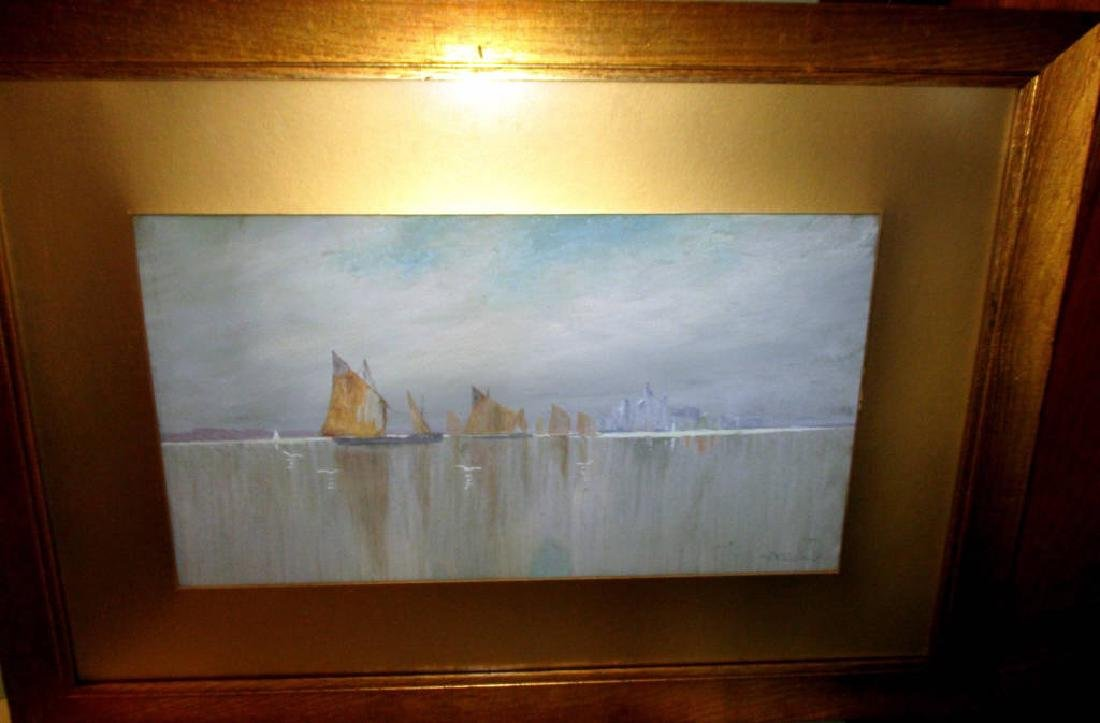 Watercolor Painting by W F Dell Sailboats Venice