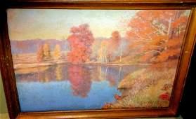 Autumn Landscape Painting Oil on Board