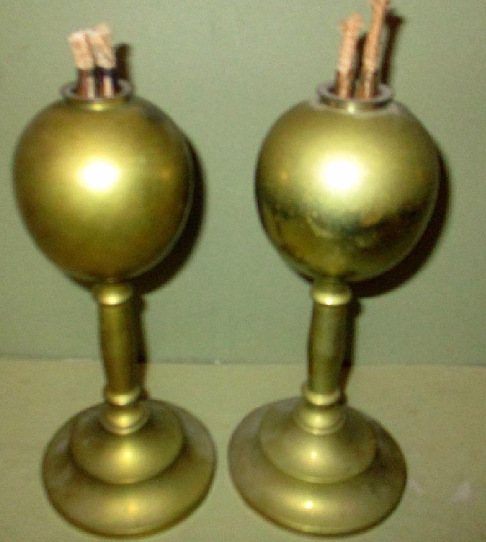 Pair of Brass Whale Oil Lamps