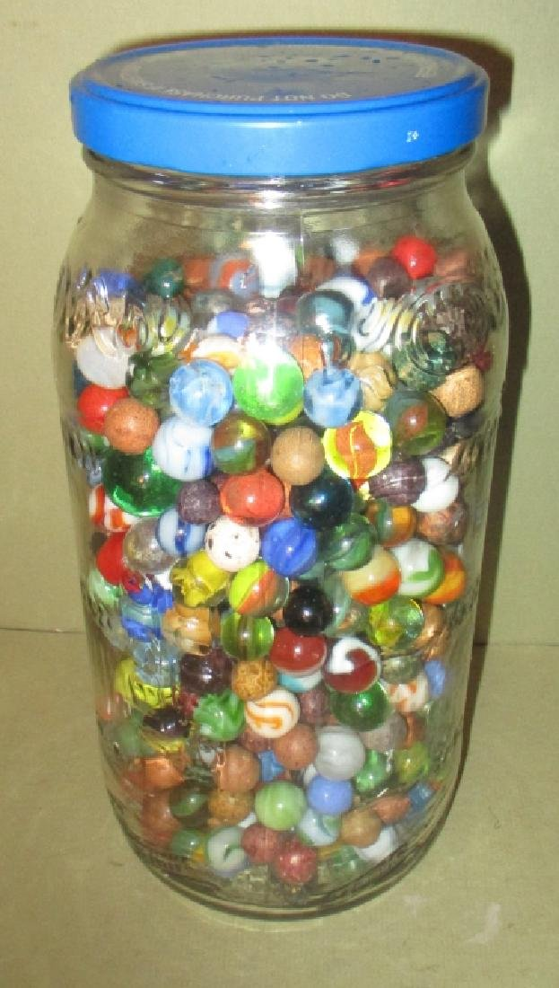 Large Jar Filled With Old Marbles