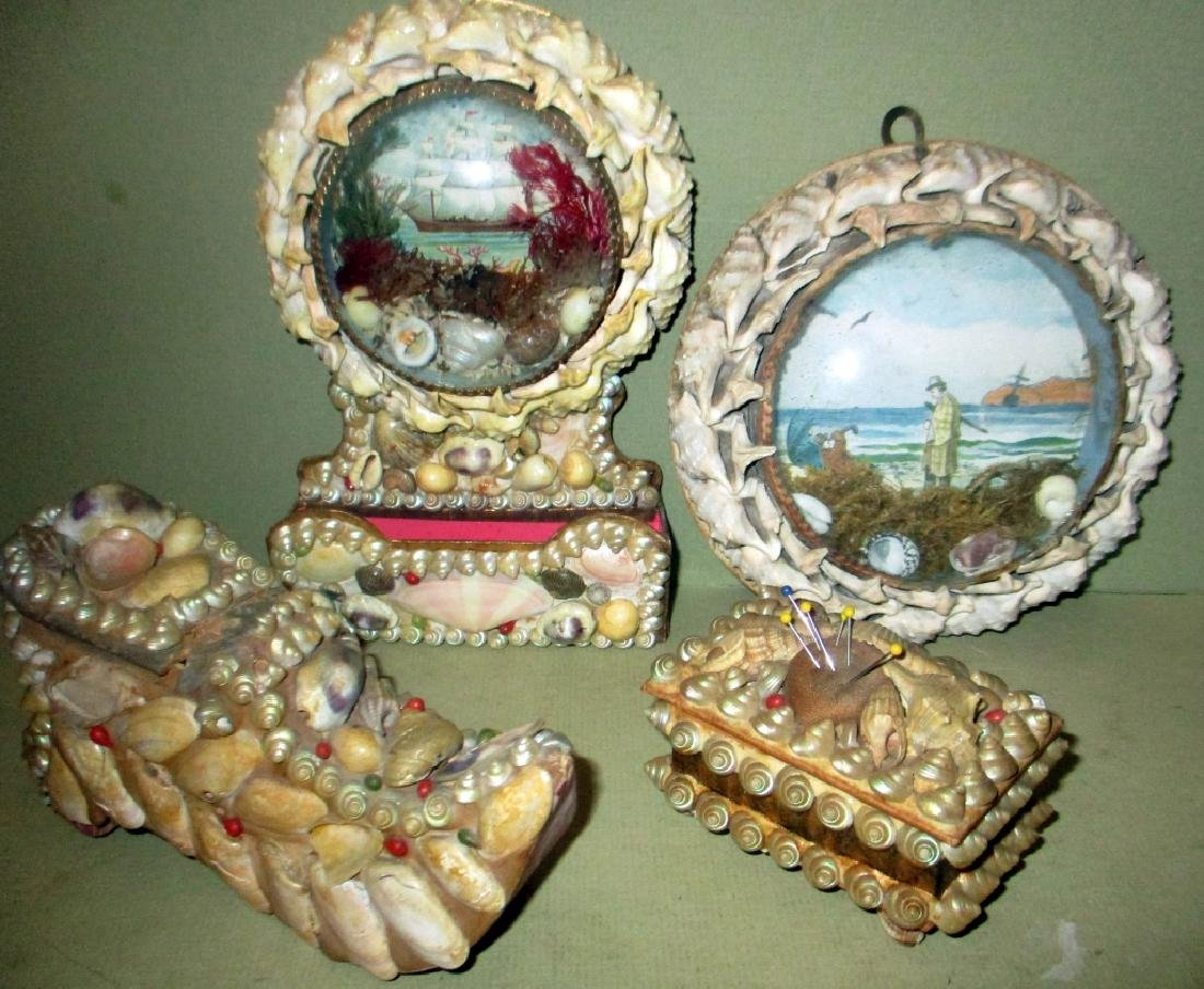 Lot of 4 Antique Shell Creations