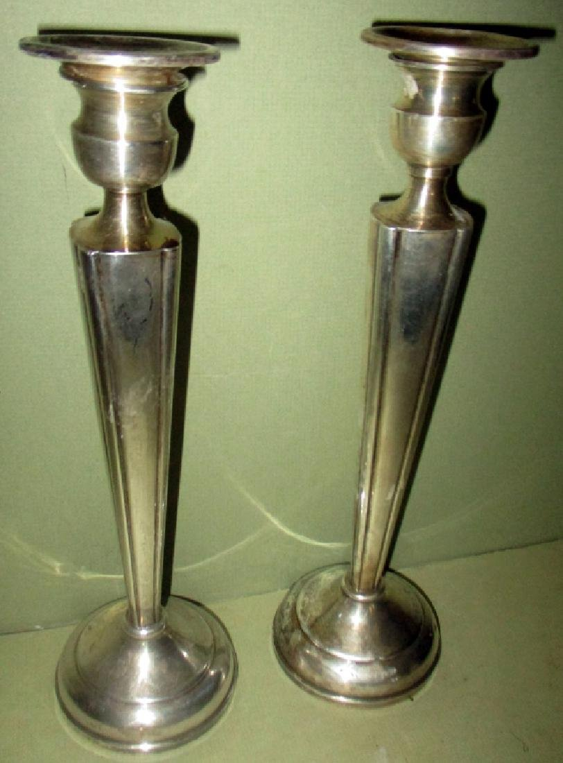 Pair of Sterling Weighted Silver Candlesticks