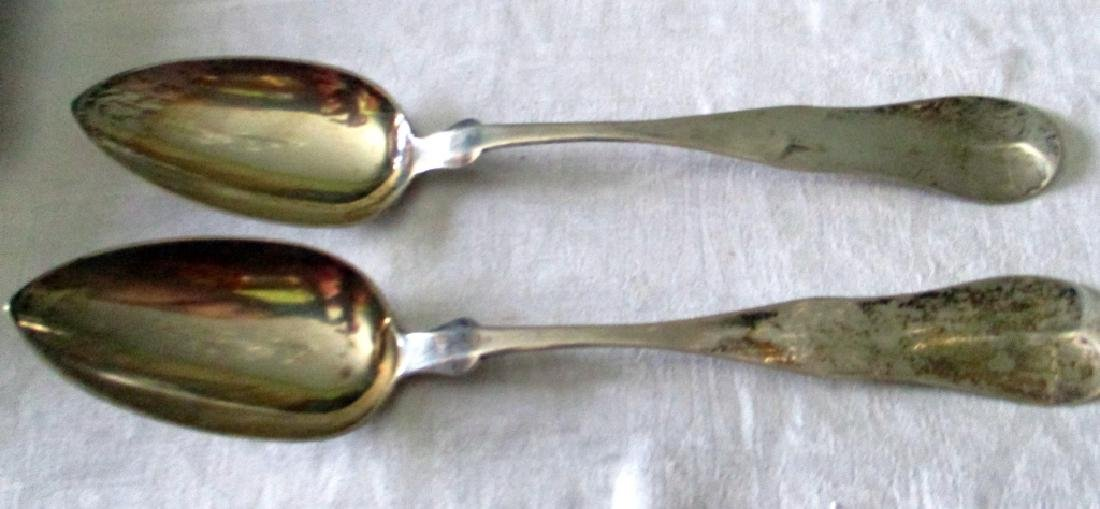Two Large Coin Silver Serving Spoons