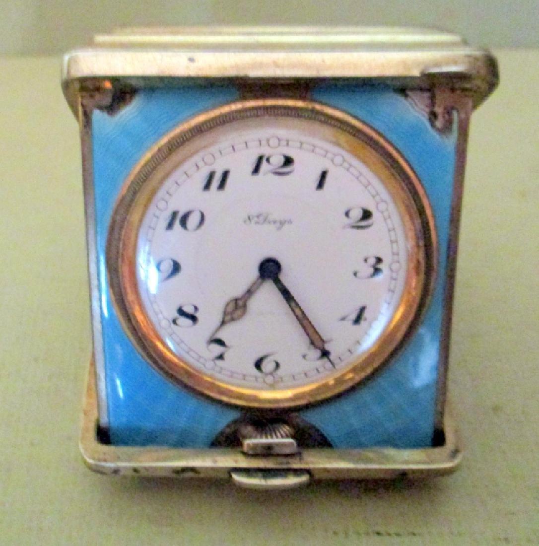 Tiffany Sterling & Enamel Travel Clock - 2
