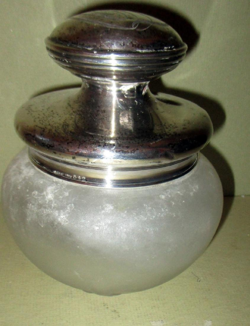 Sterling Covered Glass Powder Jar
